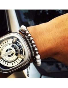 Стильный мужской браслет CoolMan White Crystal BR004