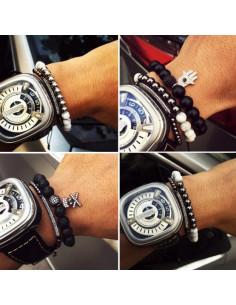Стильный мужской браслет CoolMan Black Crystal BR005