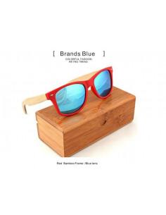 Стильные очки с деревянными дужками Style Red\Blue W012