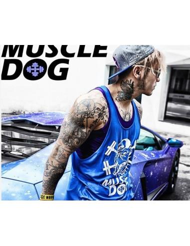 Спортивная майка для бодибилдинга Muscle Dog Blue лот 396
