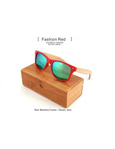 Солнечные очки с деревянными дужками Style Red\Green W013