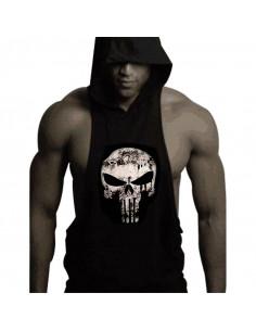 Безрукавка с капюшоном Skull Black 4027