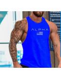 Синяя майка с надписью ALPHA лот 4071