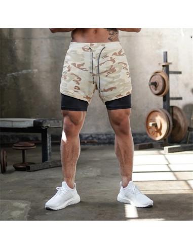 Шорты камуфляжные 2в1 с подкладкой Sport Shorts  3409